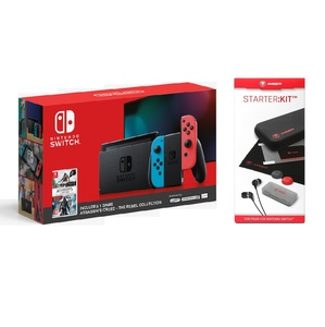 Nintendo Switch Console with Neon Joy-Con + Assassin's Creed The Rebel Collection + snakebyte STARTER:KIT