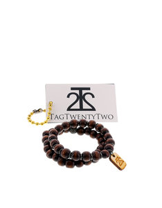 Tag Twenty Two 2 Pack Bamboo Shamballa Brown Bracelet