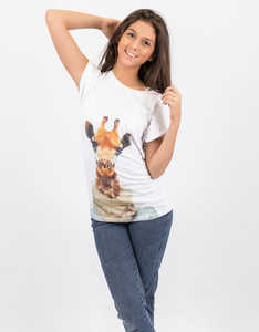 Saint Noir Giraffe Rolled Sleeve White T-Shirt