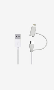 Aiino Lightning +Micro Usb Cable White 1M Mfi