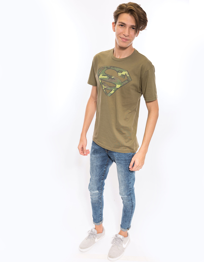 Superman Distressed Camo Shield Military Green 30/1 Men'S Tshirt S