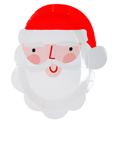 Meri Meri Christmas Santa Head Small Plate [Pack of 12]