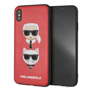 KARL & CHOUPETTE LEATHER EMBOSSED CASE RED FOR IPHONE XS MAX