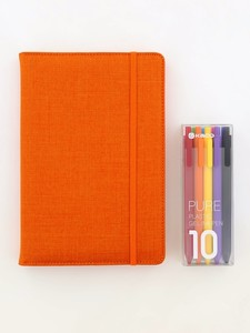 Kaco Memory Orange A5 Notebook With Folder & Pure Soft Touch Gel Pen [10 Piece]