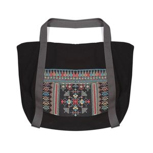 Tribalogy Travel Bag Black On Multi-Colour Embroidery