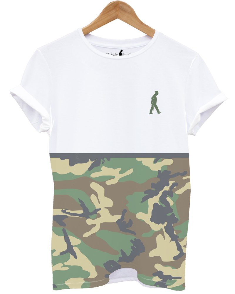 Distinkt Youth Camouflage Print White Unisex Crew Neck T-Shirt Xl