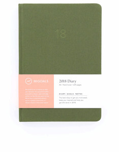 MiGoals Minimal Diary Hard Cover A5 Khaki 2018 Planner