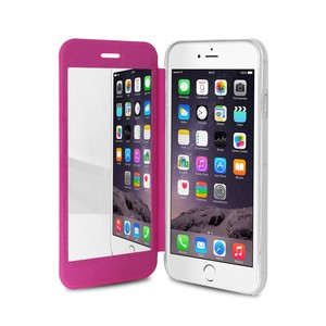 Puro Eco-Leather Cover W/Horizontal Flip/Mirror Transplant Back Pink iPhone 6