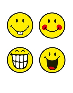 Smiley Emoticon Round Tempered Glass Coasters [Set of 4]