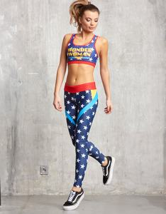 Sugarbird Wonder Woman Blue Ray Fitted Fitness Pants M