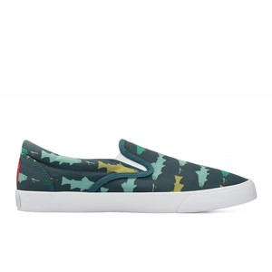 Bucketfeet Hookin' Brookies Deep Teal Low Top Men's Canvas Slip-Ons