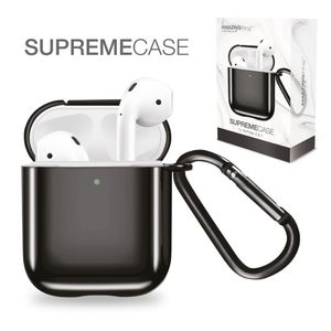 Amazing Thing Supremecase Solid Black For Airpods With Carabiner