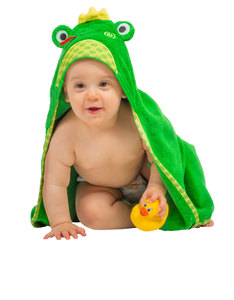Zoocchini Flippy The Frog Green Baby Hooded Towel