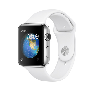 Apple Watch Series 2 38mm Stainless Steel Case with White Sport Band