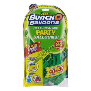 Bunch O Balloons Party 24 Self-Closing Latex Balloons Refill Pack Green