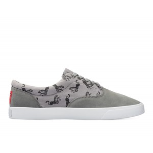 Bucketfeet Tiger Grey Low Top Men's Suede And Canvas Lace-Ups