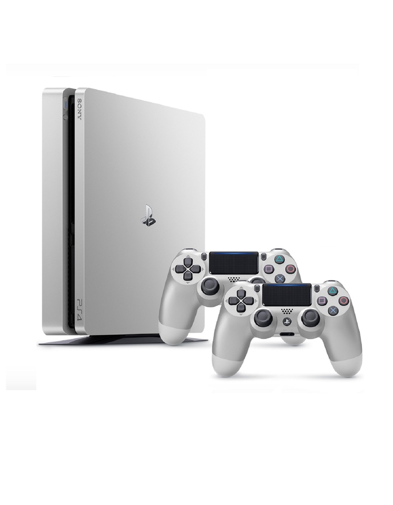 sony ps4 console. sony ps4 500gb slim silver console [includes 2 dualshock controllers] ps4 w
