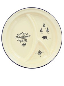Gentlemen'S Hardware Enamel Divided Plate Cream Body Blue Rim