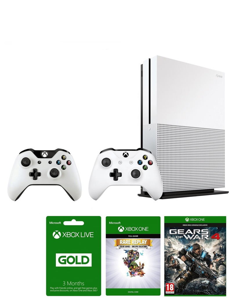 Xbox One S 1TB + Gears Of War + Rare Replay + 3 Months Live + 3 Months Gamepass Kit + Controller