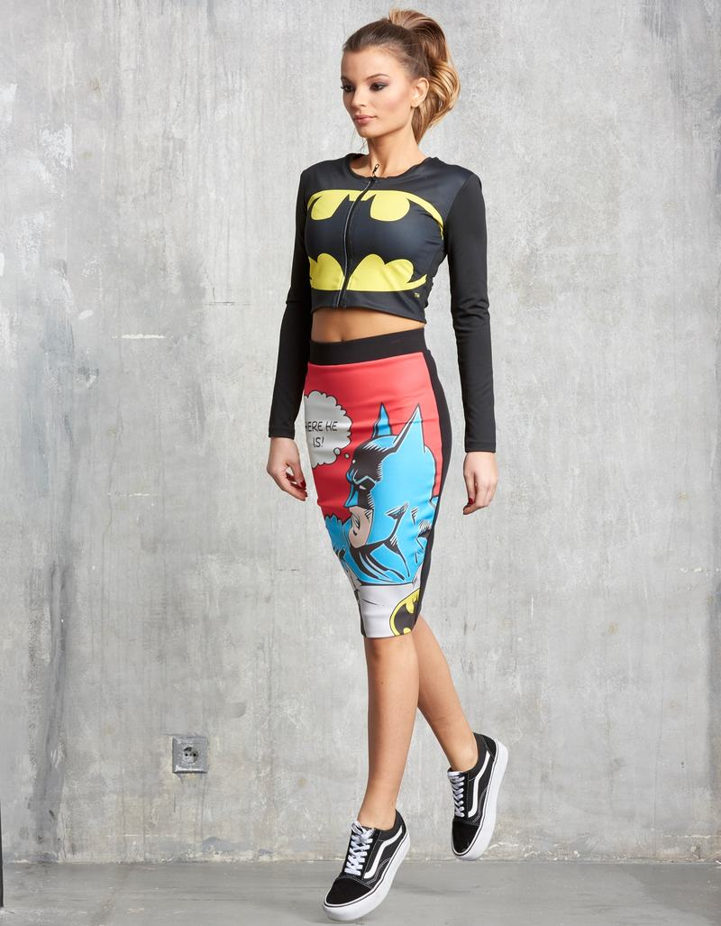 b3f76ee8a7653 Sugarbird Batman Long-Sleeved Front Zip Cropped Top