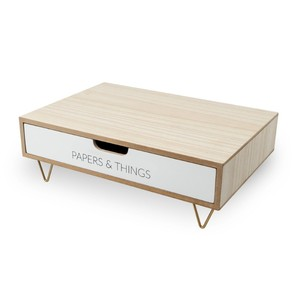 Balvi Nordic Drawer Monitor Stand White