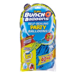 Bunch O Balloons Party 24 Self-Closing Latex Balloons Refill Pack Blue