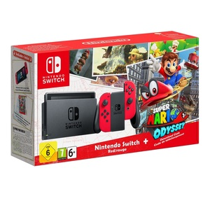 Nintendo Switch 32GB Console with Red Joy-Con Controller [US] + Super Mario Odyssey Download