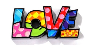 Romero Britto Love Mini Word Decor Figurine