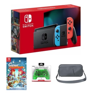 Nintendo Switch Neon Joy-Con + Scribblenauts Showdown + Nyko Core Green Wireless Controller + Sparkfox Travel Bag