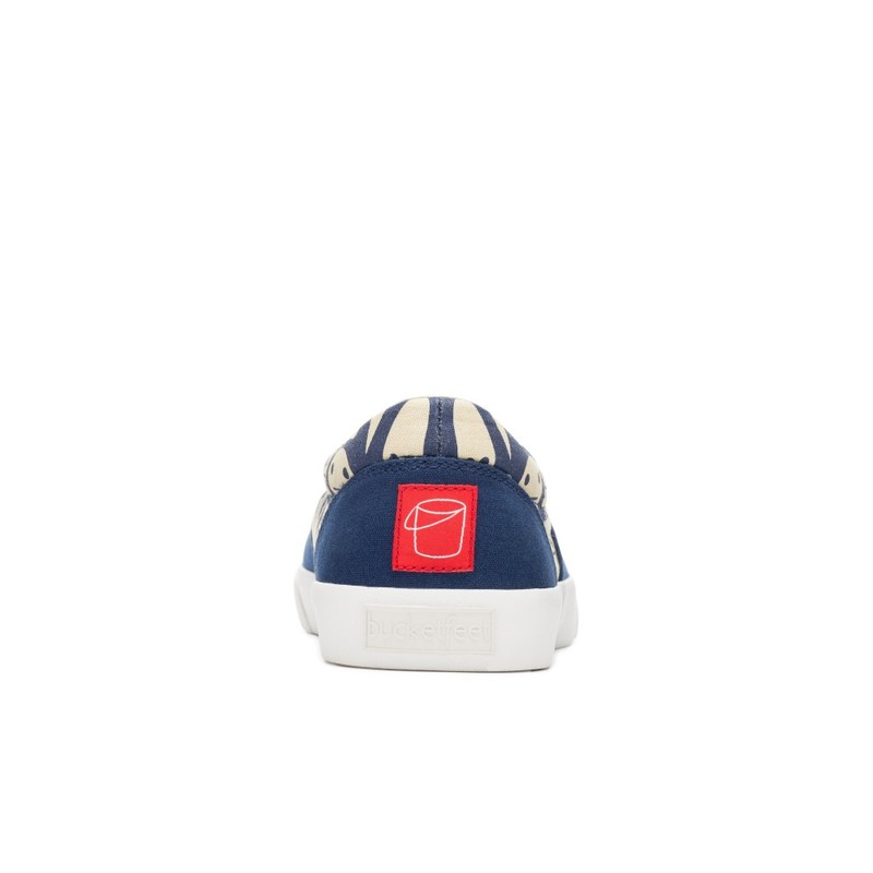 Bucketfeet Shapes With Faces Navy Low Top Canvas Lace  Men'S Shoes Size 8