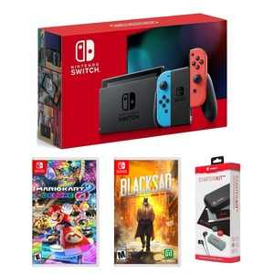 Nintendo Switch Neon Joy-Con + Mario Kart 8 Deluxe + Blacksad Under The Skin + Snakebyte Starter Kit