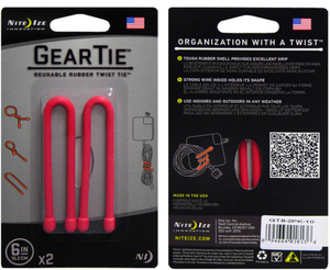 Nite Ize Gear Tie Red 6 Inch Cable Managers [2 Pack]