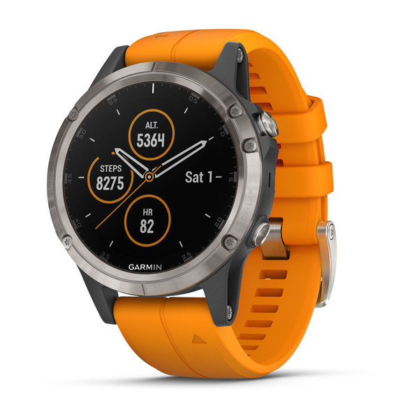 Garmin Fenix 5 Plus Sapphire Titanium with Spark Orange Band GPS Watch