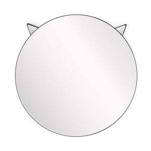 Balvi Cat Round Wall Mirror Metal Black