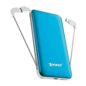 XPower PD10X 10000mAh 3-in-1 Built-In Cable Power Bank  Blue