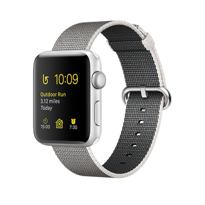 Apple Watch Series 2 Woven Nylon Band Pearl Silver Aluminium Case 38mm