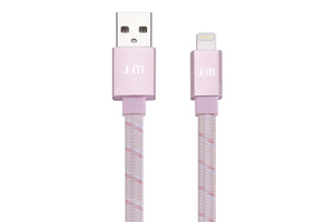 Just Mobile Alucable Flat Braided Lightning Cable 1.2M Rose Gold