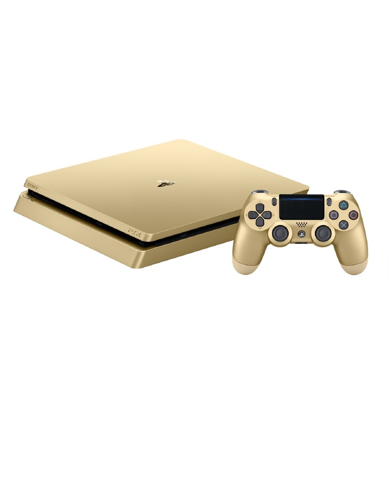 sony ps4 500gb slim gold console includes 2 dualshock controllers consoles ps4 gaming. Black Bedroom Furniture Sets. Home Design Ideas