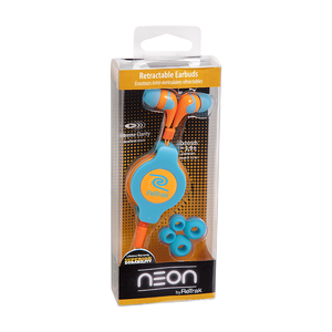 Retrak Neon Sports Blue & Orange Earphones