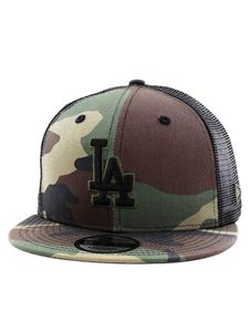 New Era League Essential Team LA Dodgers Mens Cap Woodland Camo/Black