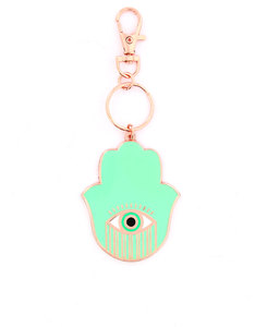 Bumble & Mouse Enamel Hand Of Fatima Charm/Key Chain