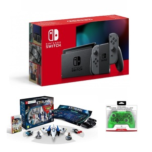 Nintendo Switch Grey Joy-Con + Starlink Battle for Atlas Starter Pack + Nyko Wireless Core Controller Green