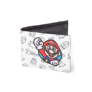 Nintendo Allover Print Bifold Wallet with Super Mario Patch White