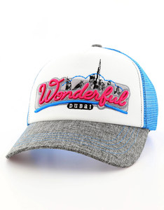 B180 Wonderful Dubai Grey/White/Blue Unisex Cap