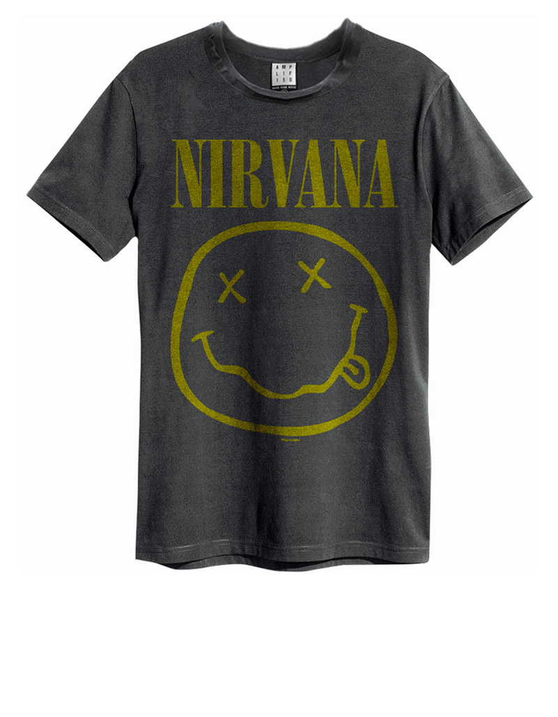 d0d836a83d7eb Amplified Nirvana Smiley Face Charcoal T-Shirt