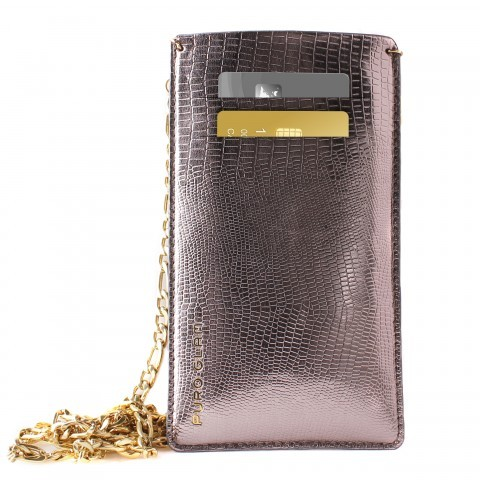 Puro Glam Chain Eco-Leather W/2 Card Slot Universal Pouch
