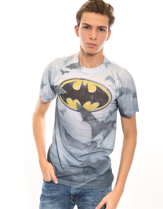 Batman Bat's Logo White 100% Poly Crew Men's T-Shirt