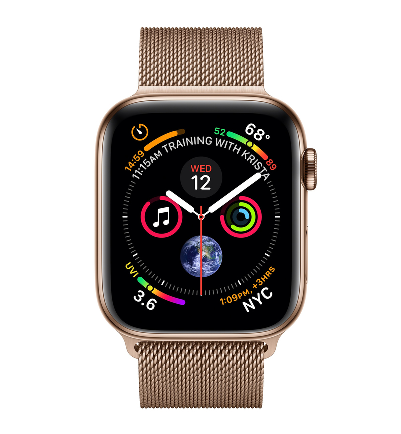 half off 66ad2 6e4cf Apple Watch Series 4 GPS +Cellular 44mm Gold Stainless Steel Case with Gold  Milanese Loop