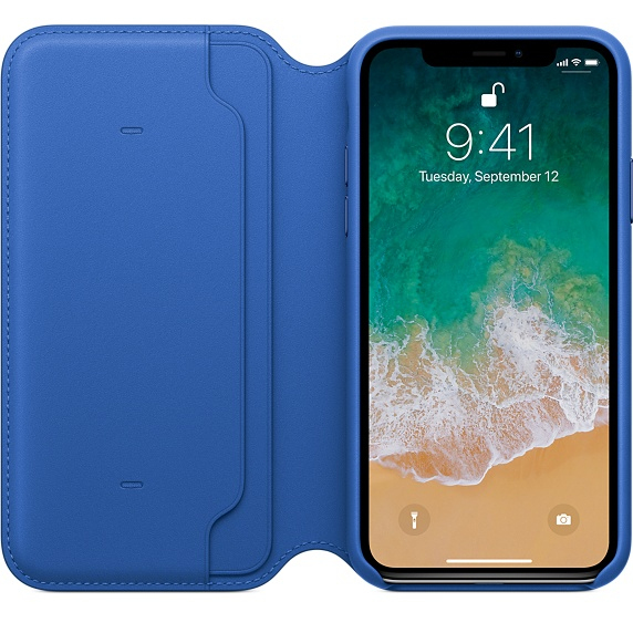 quality design 3db56 cec73 Apple Leather Folio Electric Blue For iPhone X