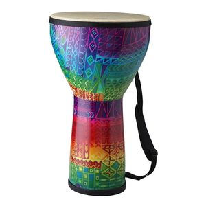 "Remo Djembe Festival Pre-Tuned Large 12"" X 21"" Fiberskyn  Fabric Rainbow"